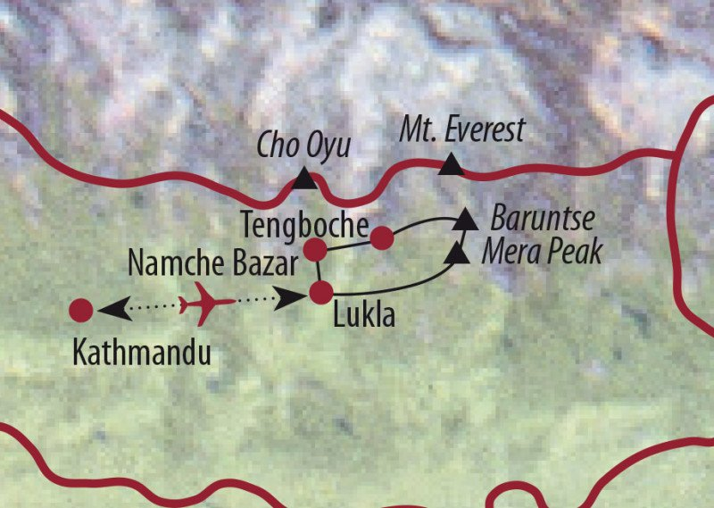 MAP Karte Nepal: Expeditionsreise - Expedition zum Baruntse (7129 m)